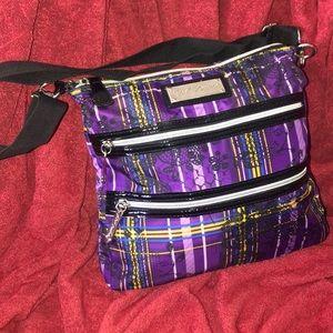 Betsey Johnson purple plaid crossbody purse